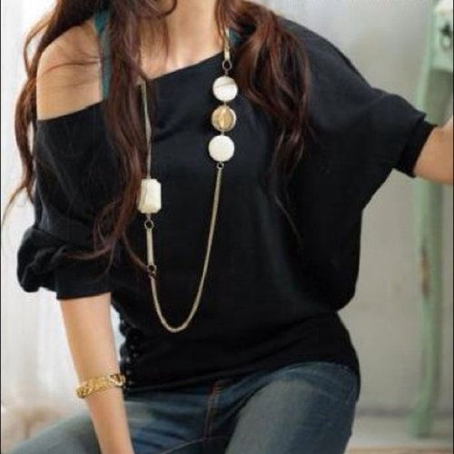 Black Waist Button Top - $19