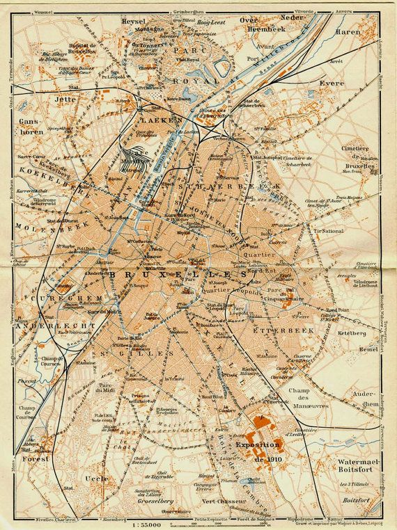 1905 brussels vintage map street map bruxelles by carambasvintage