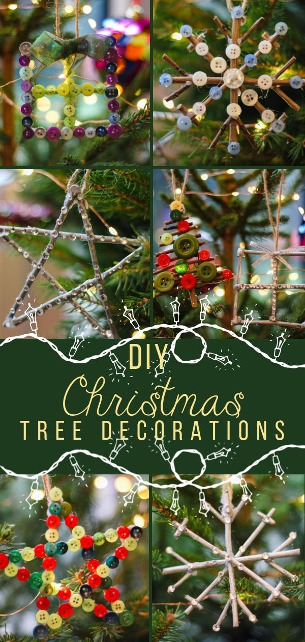 DIY Christmas Tree Ornaments - how to make #diy #christmasornaments usin craft twigs and buttons. These gorgeous decorations come in four shapes - a star, a snowflake, a christmas tree and a present. They are really easy to make and look so effective. #christmasdecorations #christmastree #diycrafts #diychristmasdecorations #diychristmasornaments #diychristmasdecor #diychristmas