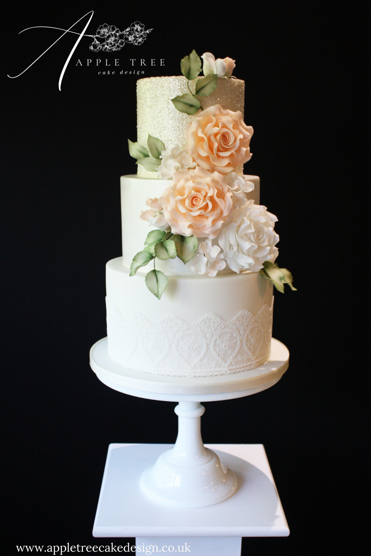 Suzanne A Delicate Peach And Ivory Wedding Cake With A Glitter