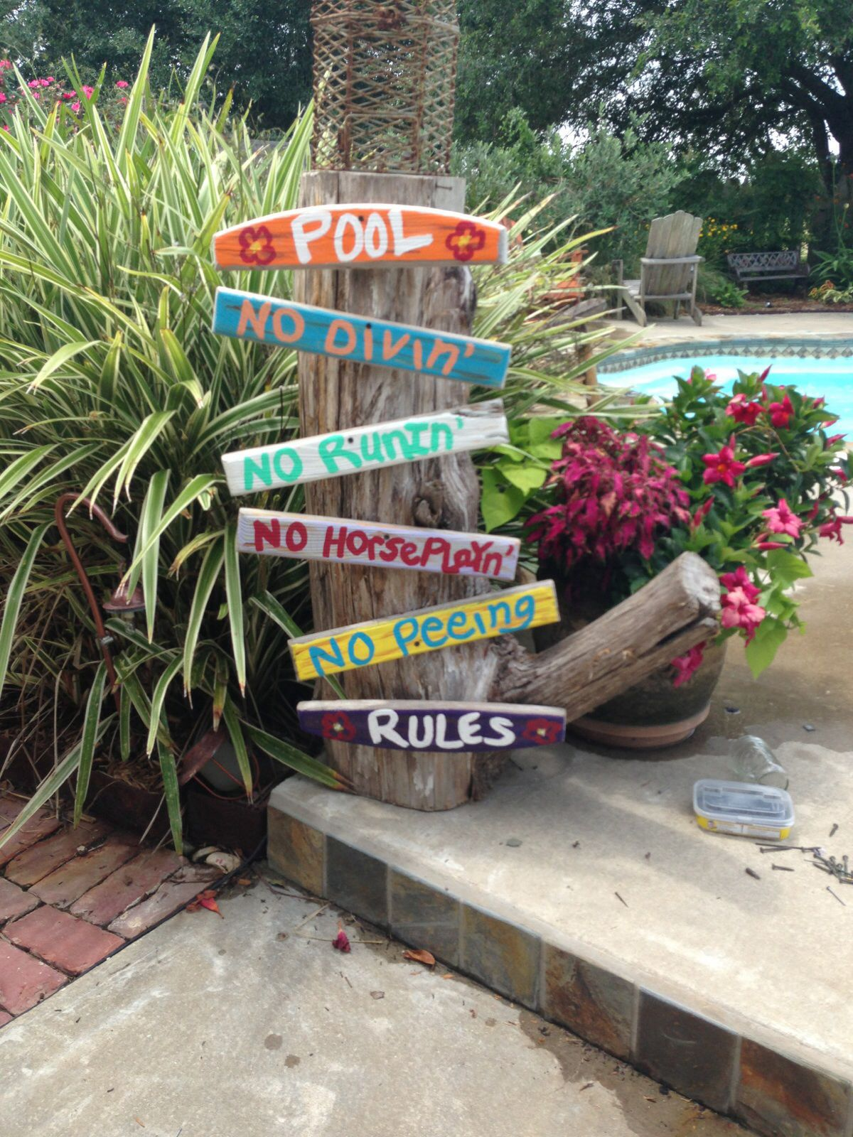 Pool rules outdoors pool rules outside pool swimming for Above ground pool storage ideas