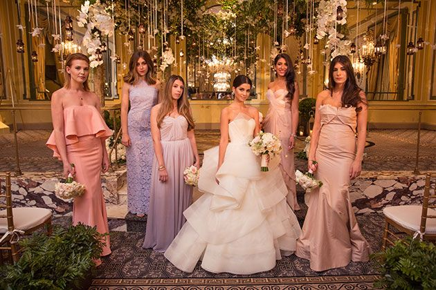 Blogger Lainy Hedaya of Haute Inhabit NYC Wedding, Bride with Bridesmaids in Mismatched Dresses
