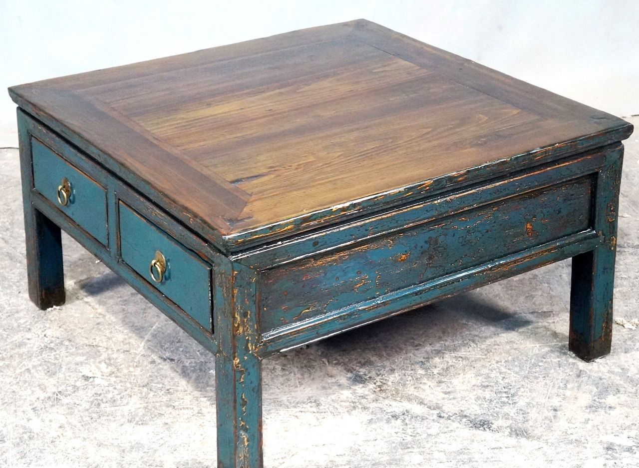 Table Basse Quatre Tiroirs Mod Le Classique Et Pratique Orme  # Meuble Tv Vieux Bois Orme