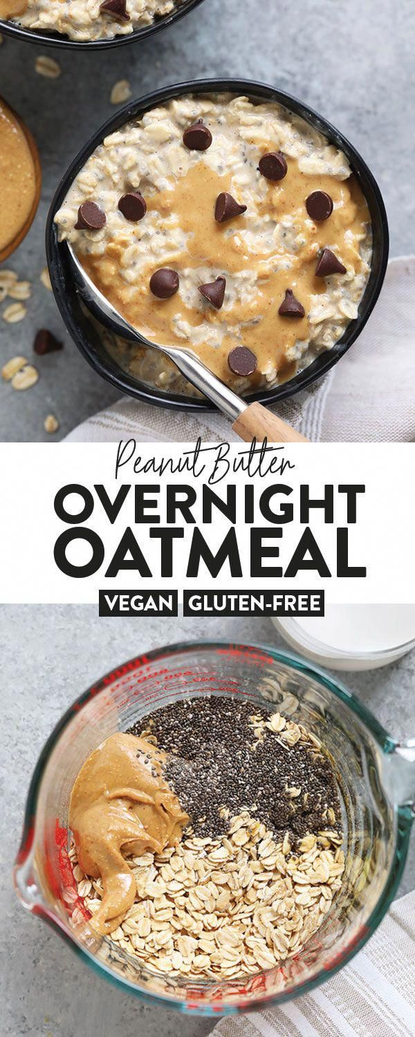 Peanut Butter Overnight Oats are the best breakfast in so many ways! Made with rolled oats, chia seeds, all-natural peanut butter, and almond milk, this vegan overnight oats recipe is a winner. #vegan #overnightoats #HealthyAndEasyFoodRecipes