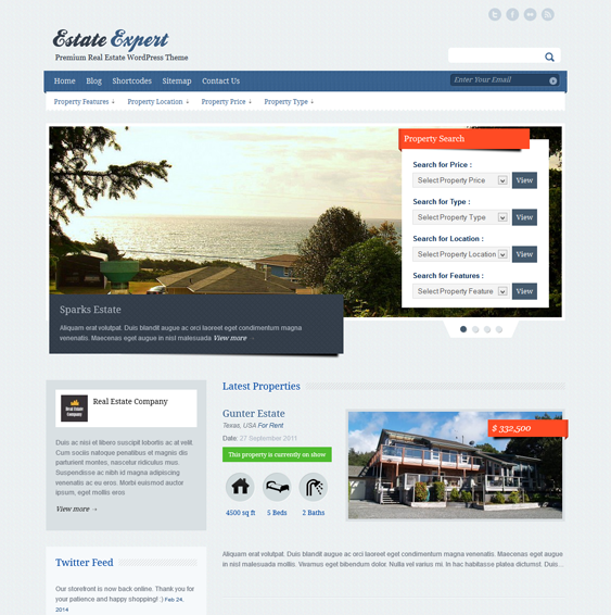 This real estate WordPress theme features a responsive layout, MLS ...