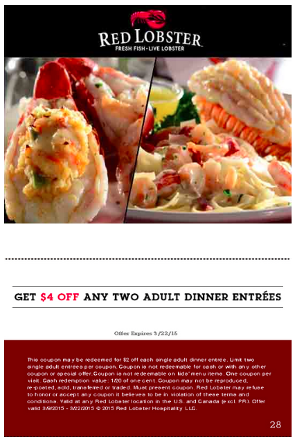 Red lobster restaurant coupons