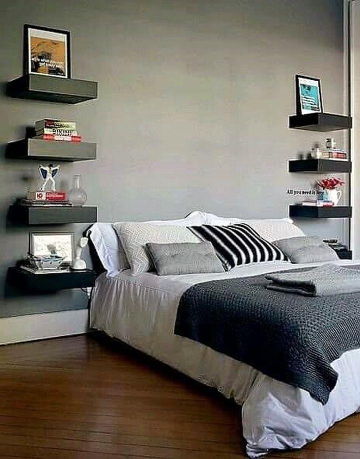 creative wooden bed side wall shelf