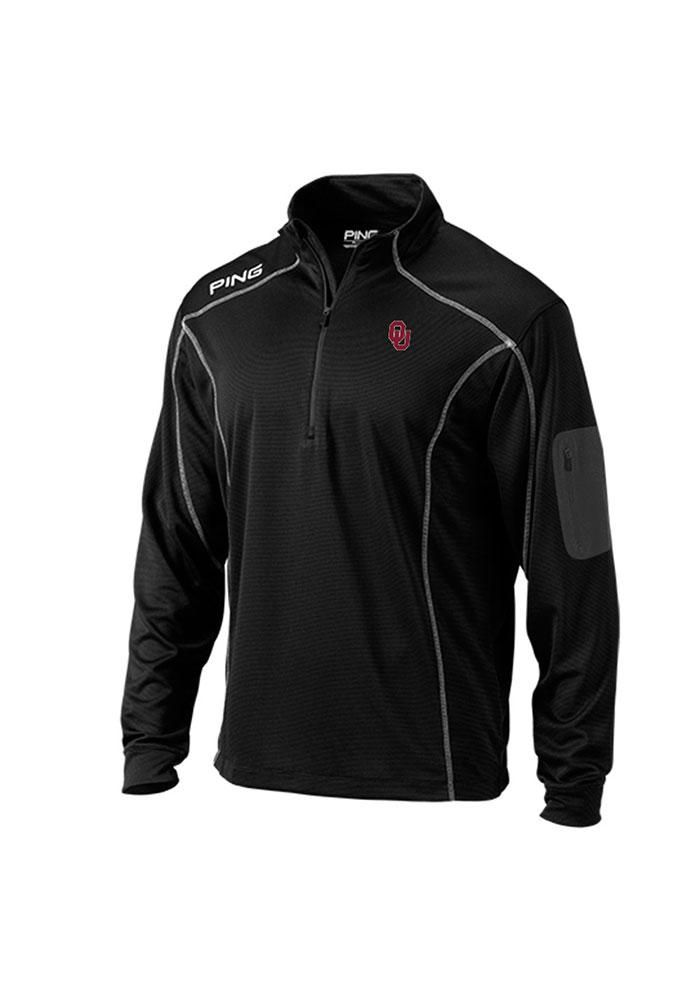 Oklahoma Sooners Ping 1/4 Zip Pullover - Mens Black Ranger Long Sleeve Pullover