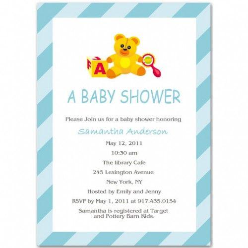Baby Shower Invitations Wording For Boys: Cute Bear Boy Baby Shower Invitation Bs025 500x500 Boy