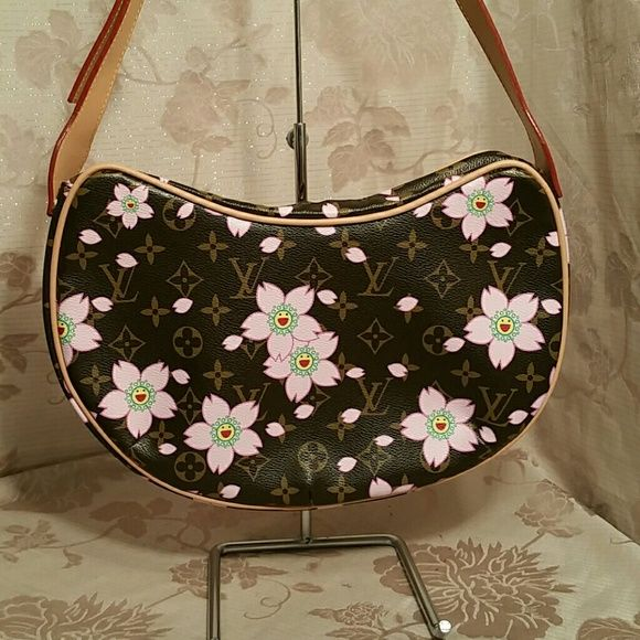 Lv Inspired Pink Floral Cresent Shaped Handbag Cute Inspired Bag