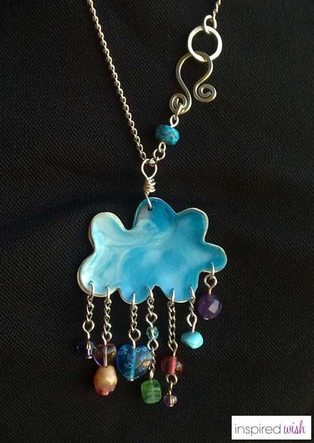 blue cloud resin pendant designed and handcrafted