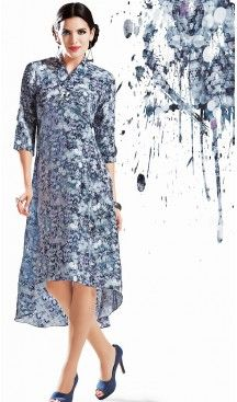 Georgette Fabric Dove Straight Type Readymade Kurti | FH460371877