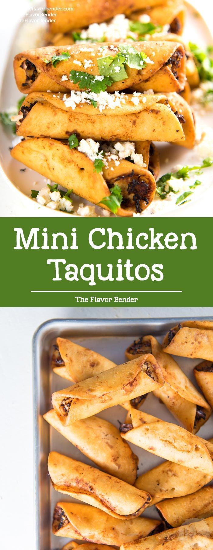 Chicken Taquitos - Crispy mini taquitos filled with a creamy, tangy chicken and cheese filling, perfect as appetizers for any party. Make these as a snack, appetizer or even as a meal. #MexicanRecipes via @TheFlavorBender