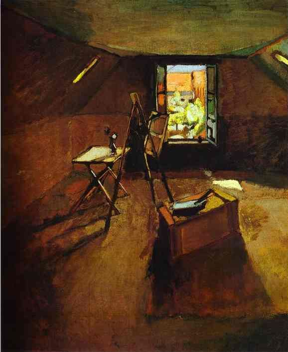 Matisse (1903) 'Studio under the eaves'. Held in the Fitzwilliam Museum, Cambridge, UK