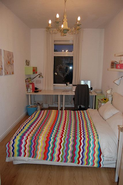 Cool workspace in a bedroom. Not ideal but a great compromise for a small home and this one is pretty. x