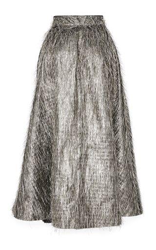 Tinsel Fringe Full Skirt by LELA ROSE for Preorder on Moda Operandi
