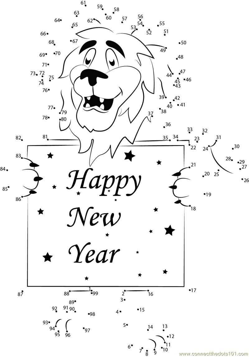 Happy New Year Lion dot to dot