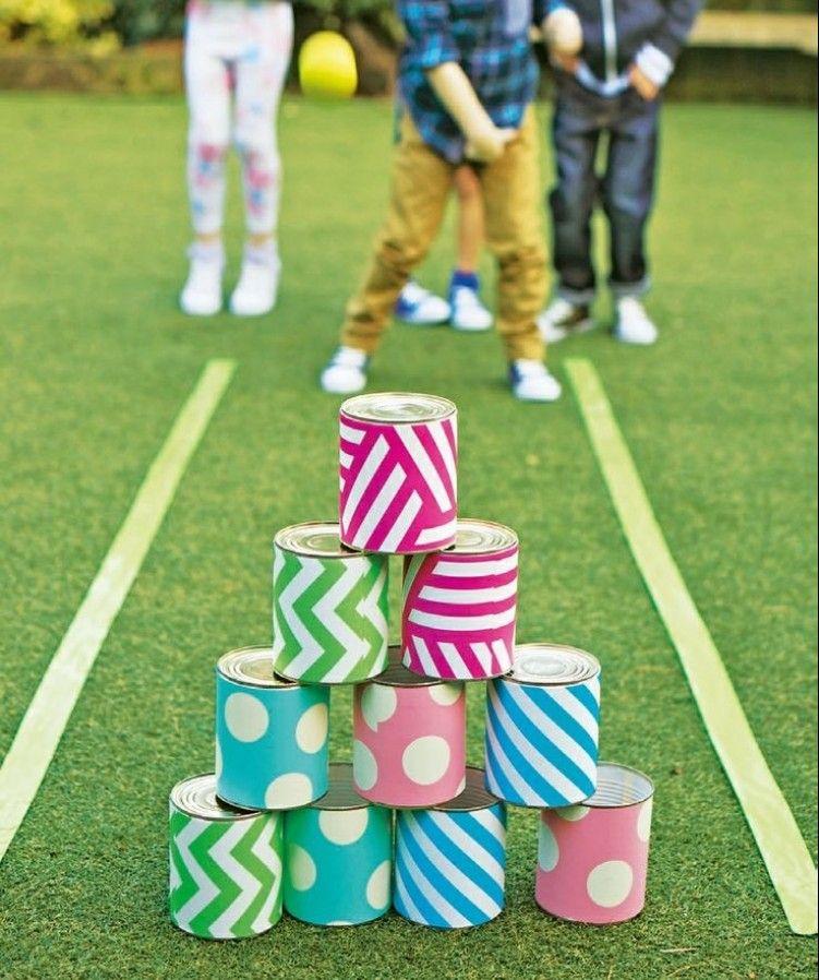 Konservendosenspiel Im Garten Selber Machen Kinder Geburtstag Spiele Spiele Fur Draussen Sommerfest Spiele
