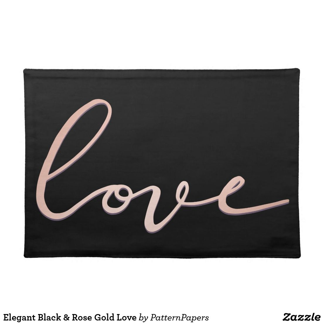 Elegant Black & Rose Gold Love Cloth Placemat is part of Trendy Clothes Rose Gold - Elegant Black & Rose Gold Love