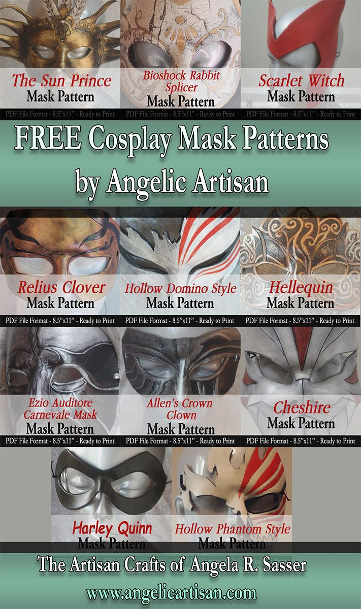 FREE Cosplay Mask Patterns by Angelic-Artisan.deviantart.com on @DeviantArt Happy Monday, everybody! Have some FREE Cosplay mask patterns from me for your costuming endeavors! Find them over at my revamped website: http://www.angelicartisan.com/product-category/digital/free/