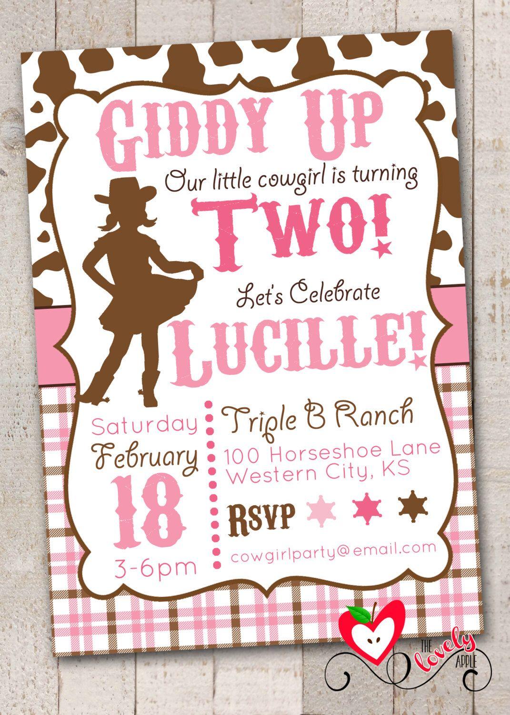 Cowgirl Birthday Invitation, DIY Printable Cowgirl Birthday Invite ...