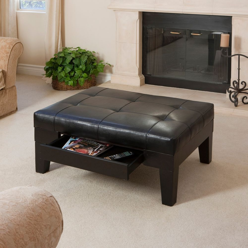 Black Faux Leather Storage Ottoman Bench Rectangular Tufted Seat Footrest Leather Ottoman Coffee Table Leather Storage Ottoman Storage Ottoman [ jpg ]