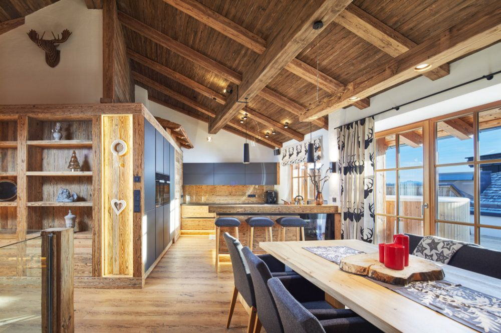Penthouse Im Chaletstil Altholz Black Kuche Wohnen Pinterest