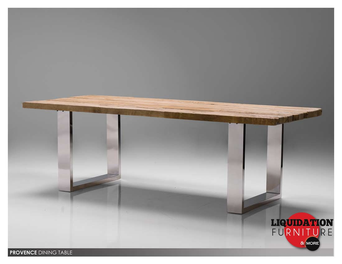 Charmant Stainless Steel Dining Table: Provence Dining Table Reclaimed Solid Pine  Wood Toppolished Stainless Steel Legs