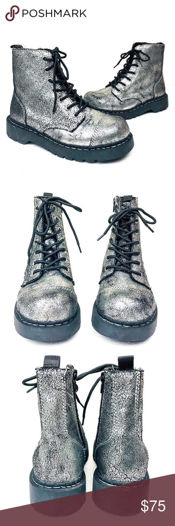 Anarchic Tuk 7 Eye Cracked Silver Leather Boot 8 Boots Leather Boots Fashion