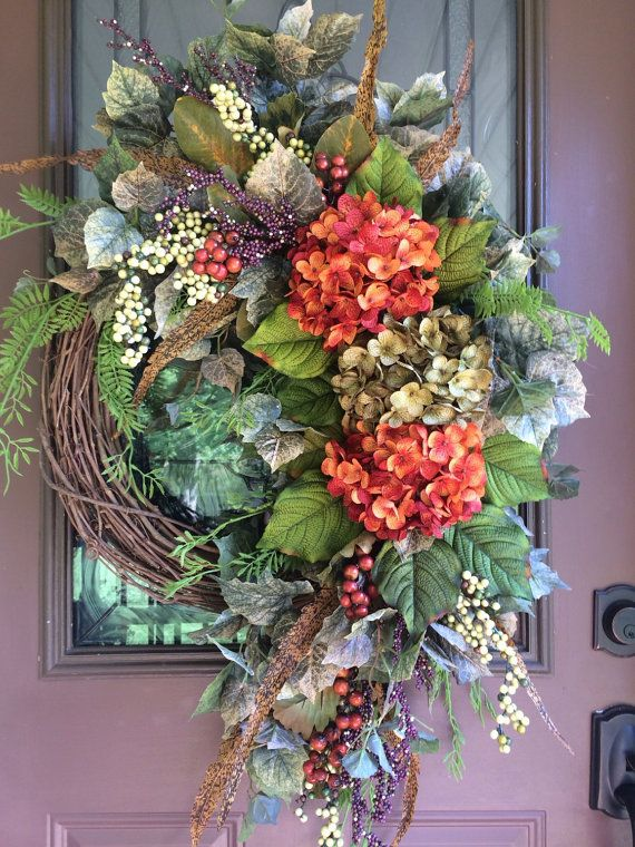 Autumn Wreath, Fall Wreath, Hydrangea Wreath, Grapevine Wreath, Door