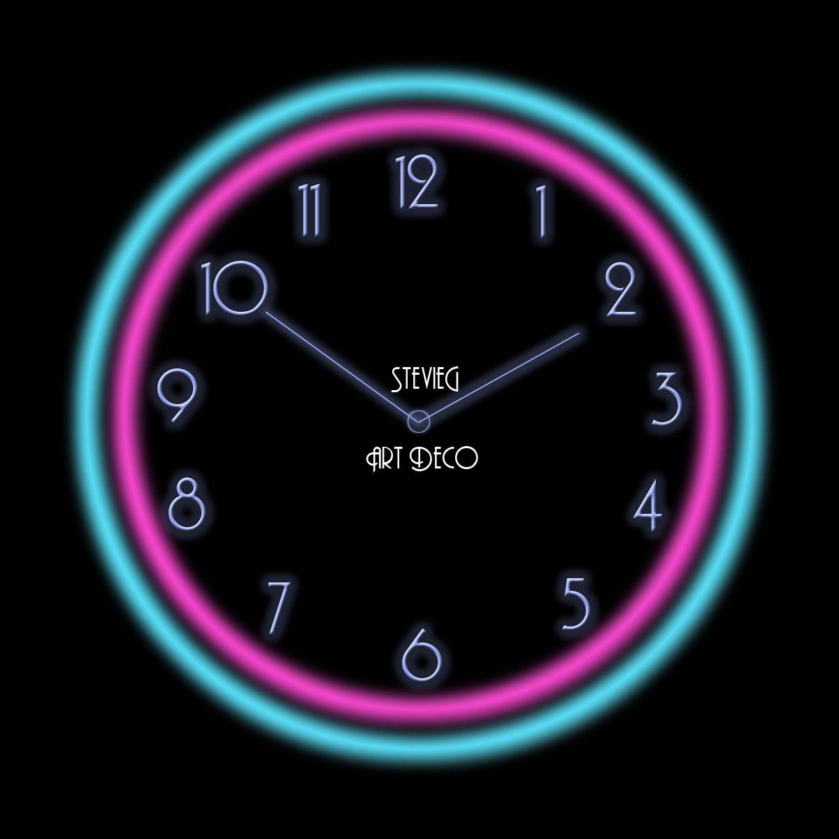 Reloj Neon Art Deco Reloj, Neón, Art deco