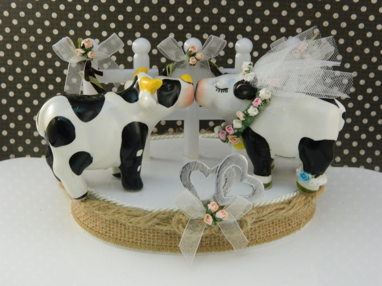 Dairy Cow Wedding Cake Topper Farm Theme Rustic