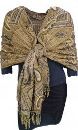 Tan's Clothing Pashmina Shawl Scarf In Golds And Browns