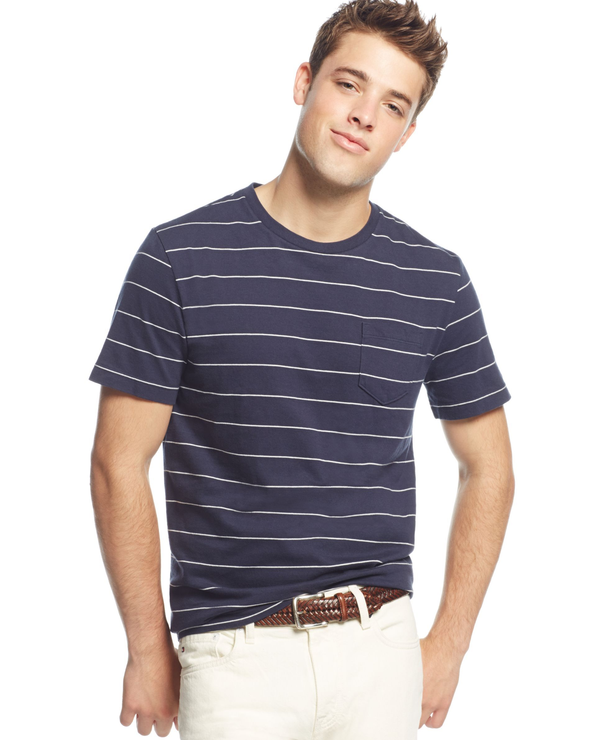 Tommy Hilfiger Freeman Striped Pocket T Shirt | Shirts, T