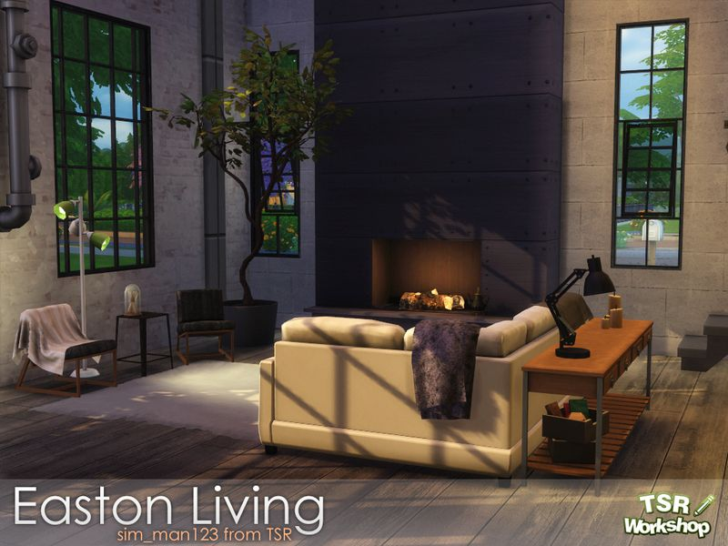 A modern industrial living room perfect for all of the for Modern living room sims 4