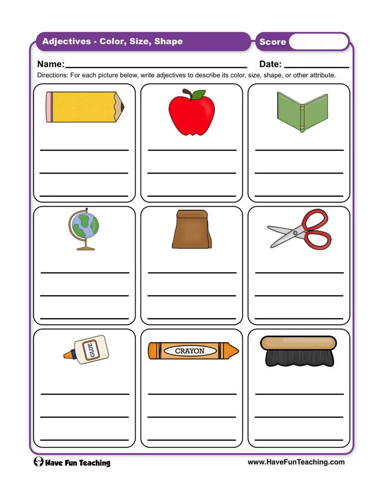Adjectives Color Size Shape Worksheet Have fun teaching