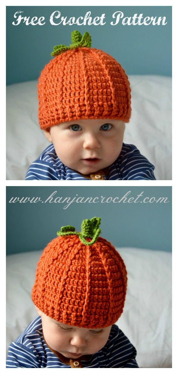 Baby Pumpkin Hat Free Crochet Pattern #beaniehats