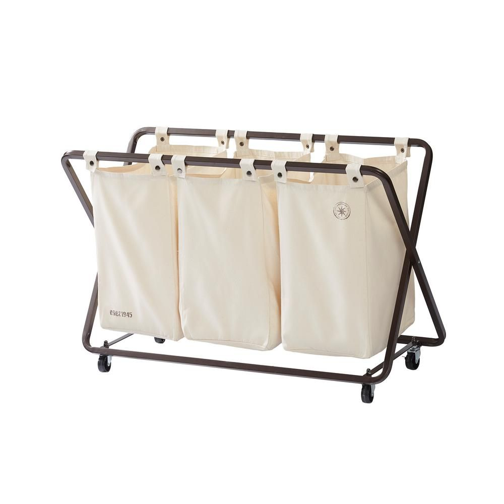 American Vintage Triple Laundry Sorter Pdq 1001131 The Home