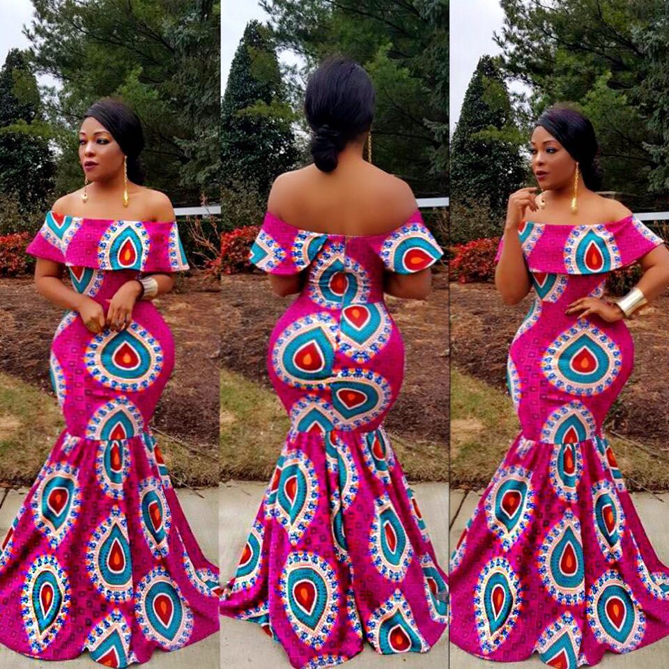 394b04392830b Ankara off shoulder maxi dress . Lots of stretch . Model is wearing a  small. Fits like gloves $49