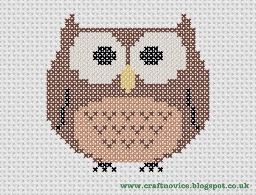 Free Cross Stitch Owl Pattern - Craft Novice | Owls | Pinterest ...