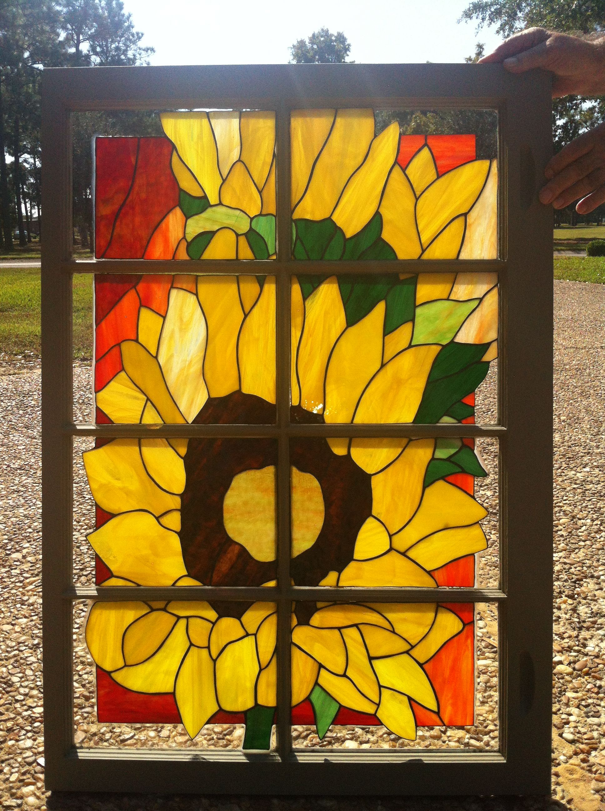 stain glass sunflower in and old window | my creations | Pinterest ...