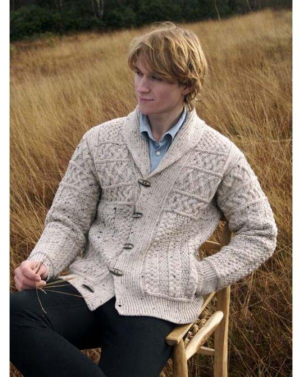 Mans Aran Style Shawl Collar Cardigan Traditional Modern Aran