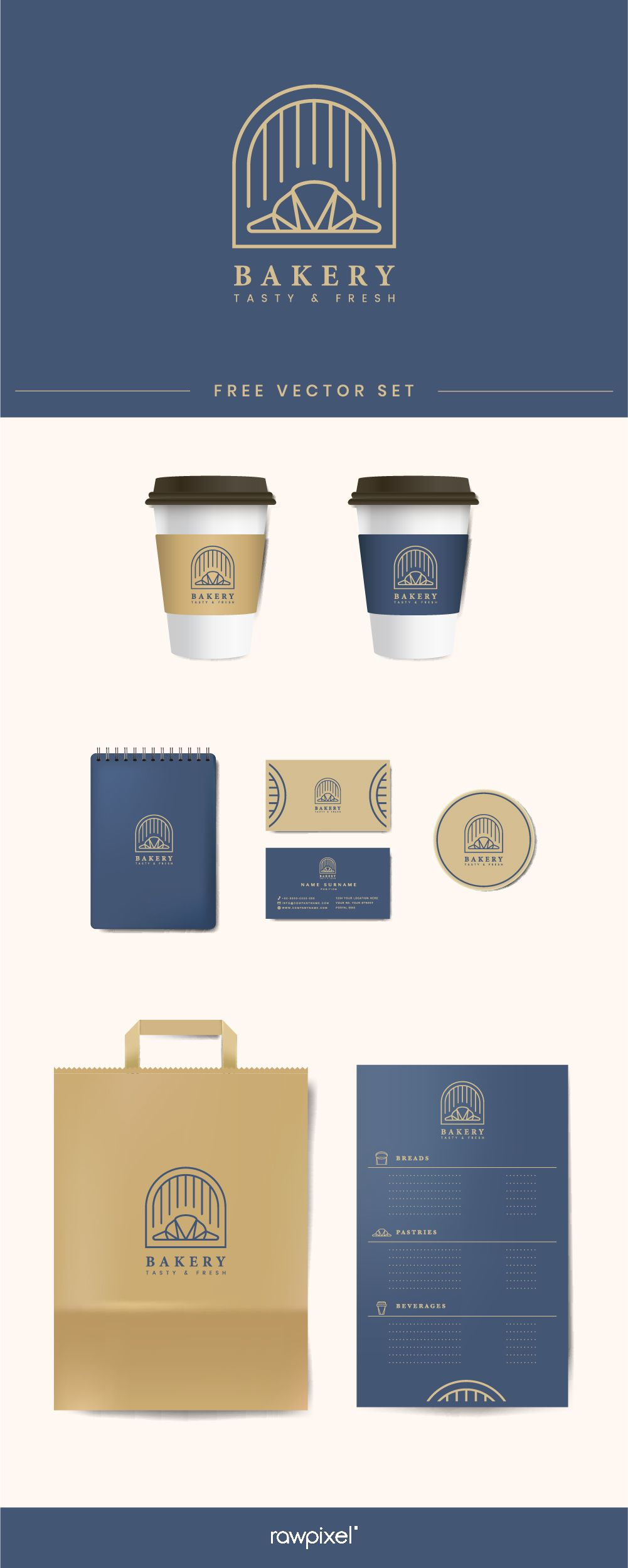 Download these free vectors of coffee shop mockup and