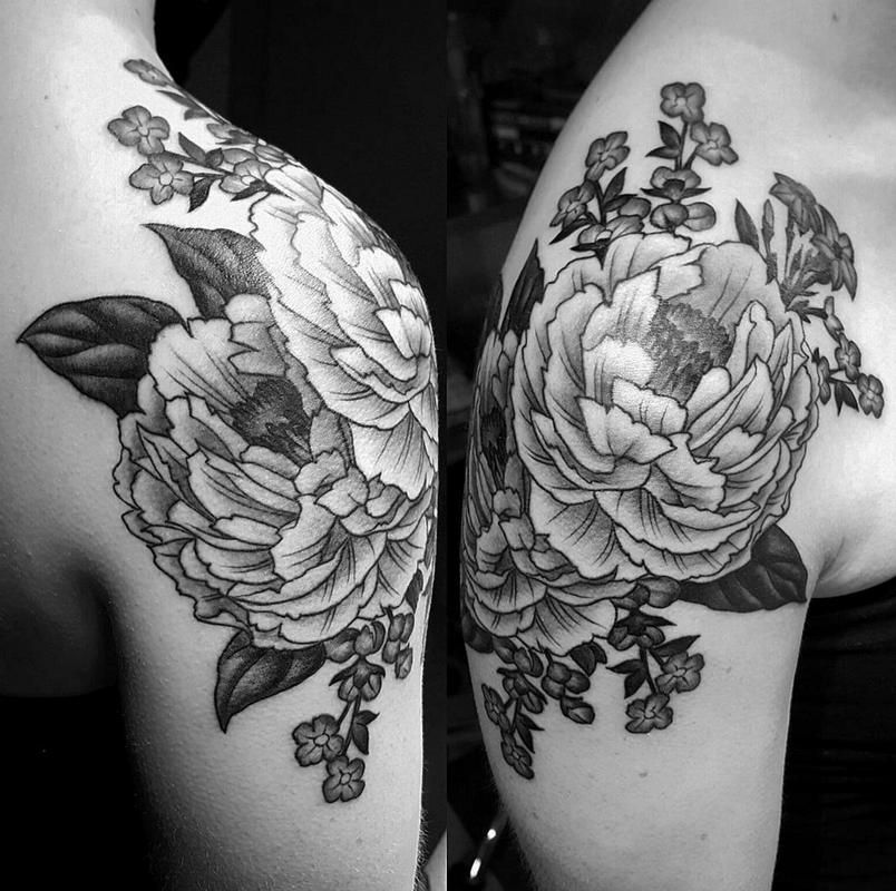 Black and grey peony shoulder tattoo Shoulder tattoo