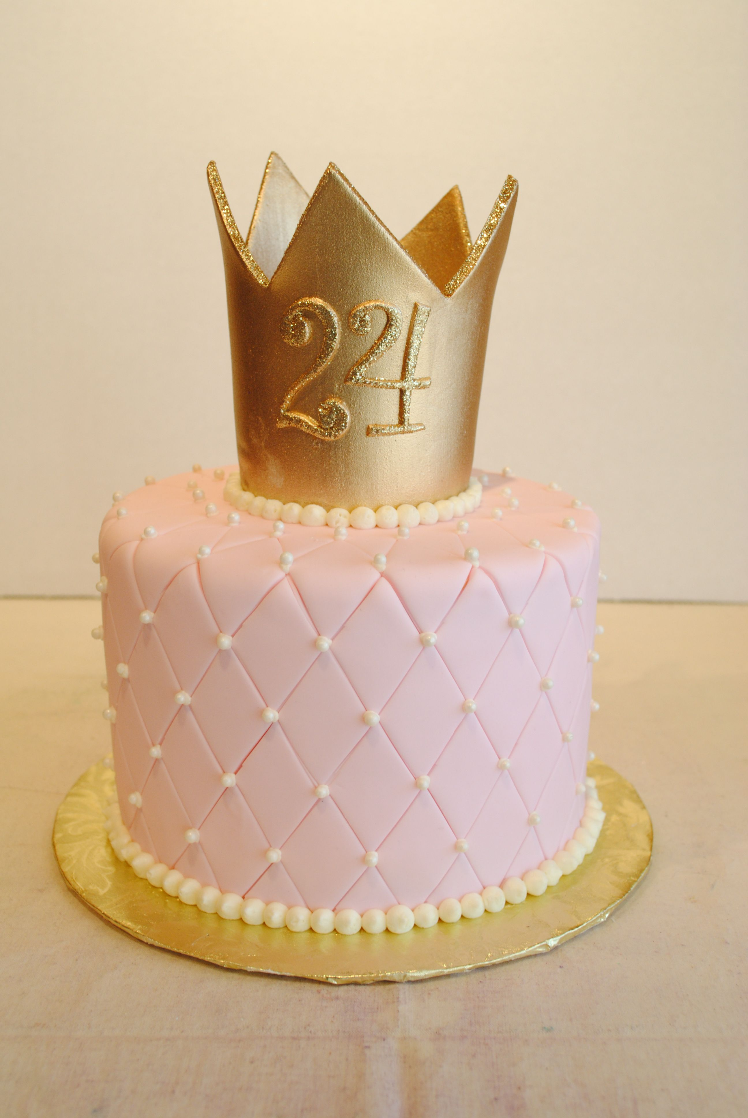 Princess cake. Fondant quilted pin cushion with gold crown and edible glitter. & Princess cake. Fondant quilted pin cushion with gold crown and ...