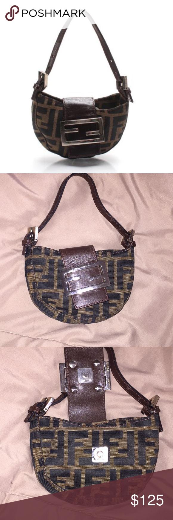 dbf2229c8ec FENDI Monogram Zucca Pattern Canvas Baguette DESCRIPTION  Cute little wrist  bag that will fit only