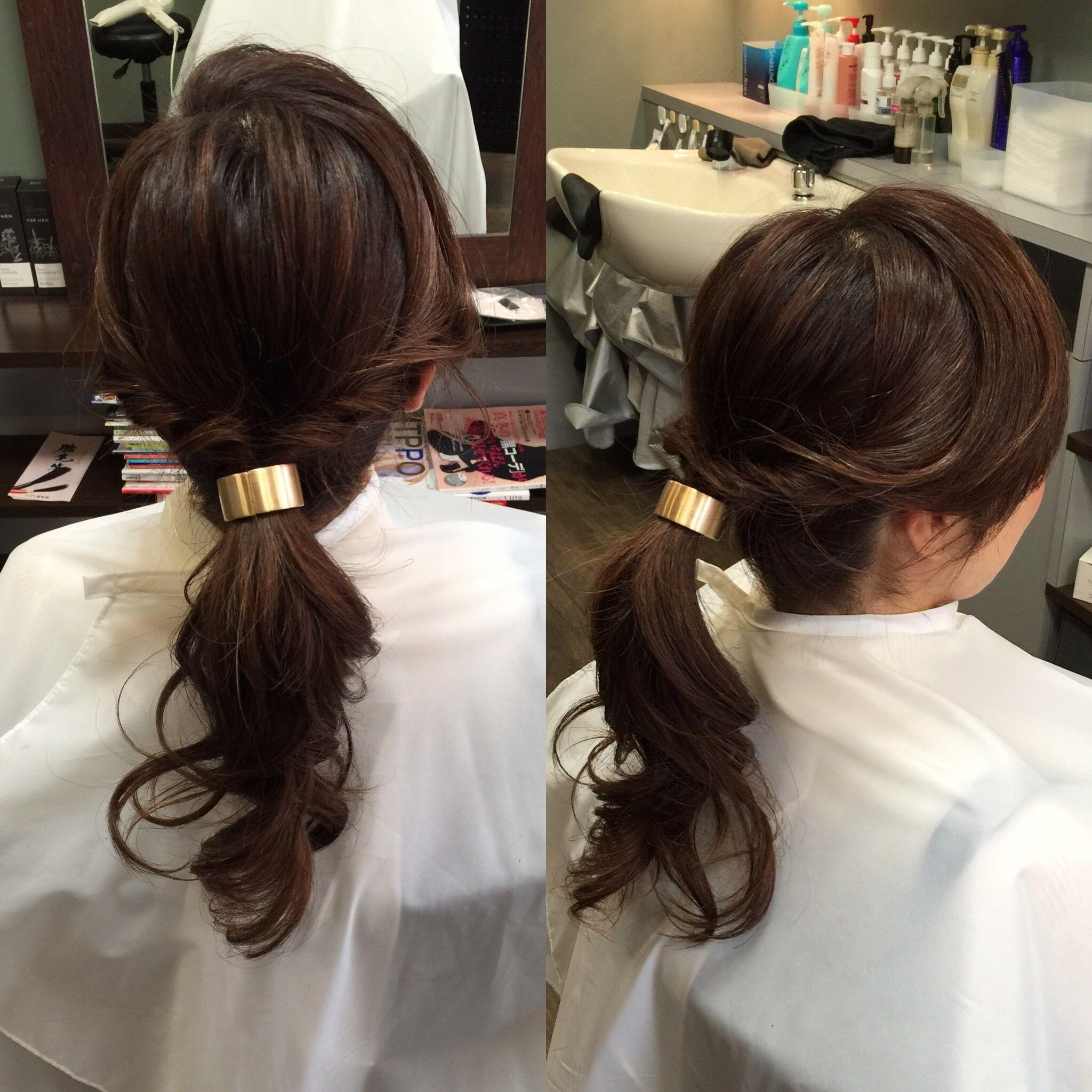 縮毛矯正 カラーリング 巻き髪 ポニーテール ヘアアクセサリー 巻き髪 ヘアアクセサリー 縮毛