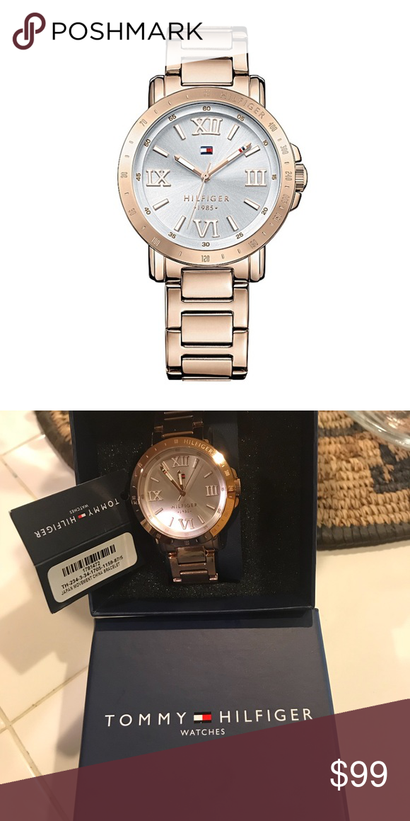 7998ff3f NEW Authentic Tommy Hilfiger Rose Gold-Tone Watch Brand New Tommy Hilfiger  Bella White Dial