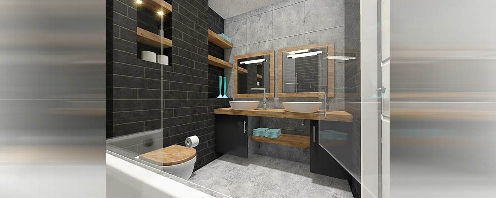 modern badkamer grijstinten grote tegels en houten elementen ...