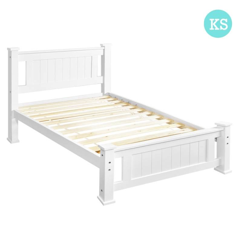King Single Size Pine Wooden Bed Frame In White White Wooden Bed